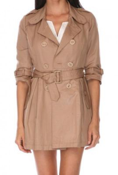 Coat - The Perfect Storm Double Breasted Belted 3/4 Sleeve Trench Coat in Tan