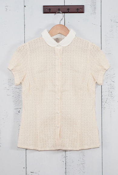 Blouse - Perfect Attendance Short Sleeve Eyelet Blouse in Ivory