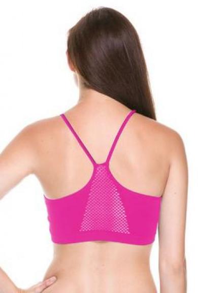 Sports Bra - Physical Fitness Perforated Back Fuchsia Sports Bra
