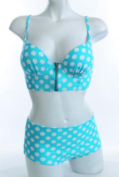 Bikini Set - Pin-up Girl Aqua Polka Dot Print Corset Bikini Top with High Waist Bikini Bottom