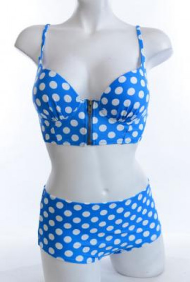 Bikini Set - Pin-up Girl Alice Blue Polka Dot Corset Bikini Top with High Waist Bikini Bottom
