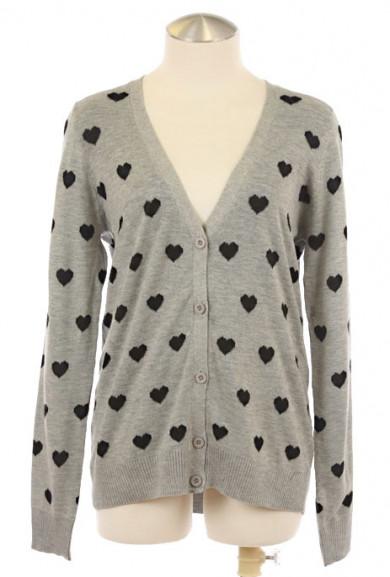 Cardigan - Platonic Love Heart Print Cardigan in Gray