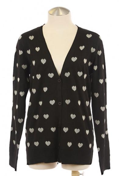 Cardigan - Platonic Love Heart Print Cardigan in Black
