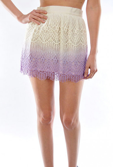 Skirt - Playful Remark Dip Dyed Lace Skater Skirt in Lavender