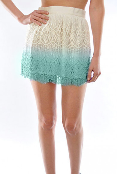 Skirt - Playful Remark Dip Dyed Lace Skater Skirt in Mint