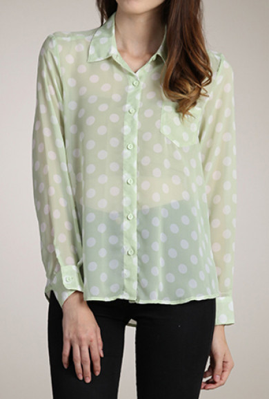 Blouse - Playing for Keeps Polka Dot Button Down Blouse in Pastel Mint