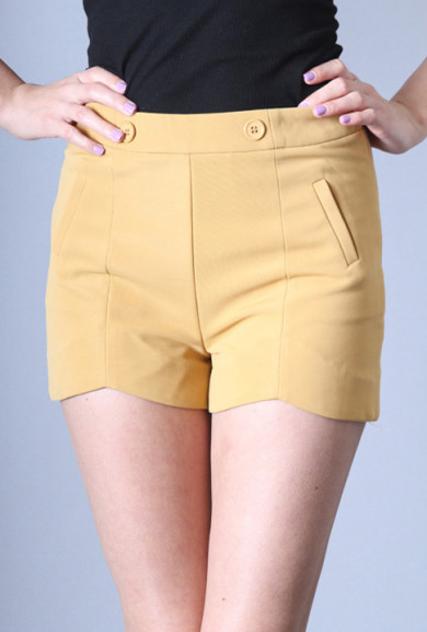 Shorts - Point of View High Waist Dip Hem Shorts in Mustard