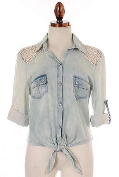 Shirt - Porch Swing Memories Crochet Lace Stone Washed Chambray Shirt