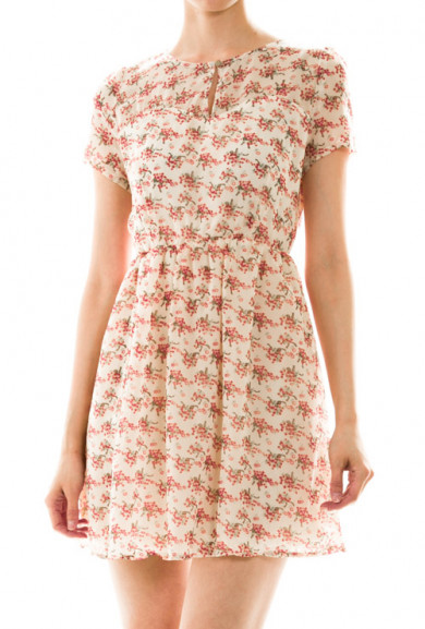 Dress - Prairie Dreams Short Sleeve Floral Print Dress in Ivory