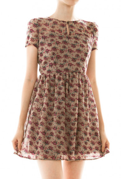 Dress - Prairie Dreams Short Sleeve Floral Print Dress in Taupe