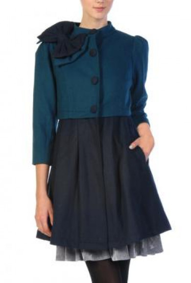Coat - Preppy Patronage Bow Applique Coat in Dark Teal/Navy