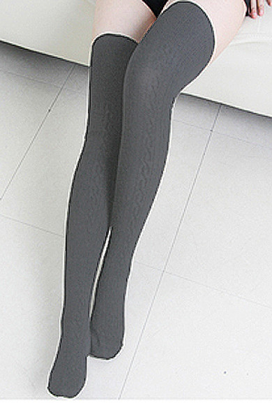 Socks - Preppy Life Cable Knit Gray Thigh High Socks