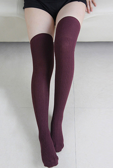 Socks - Preppy Life Cable Knit Maroon Thigh High Socks