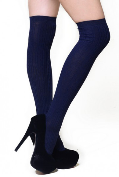 Socks - Preppy Life Cable Knit Navy Thigh High Socks