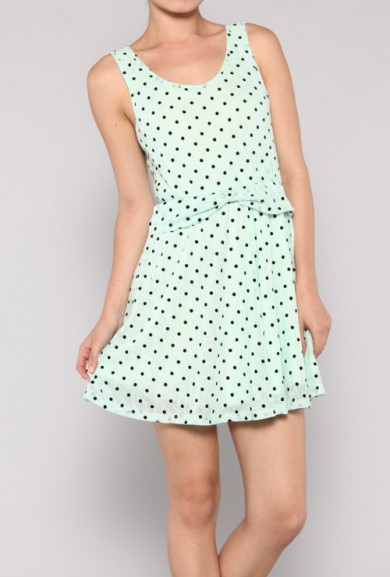 Dress - Puppy Love Sleeveless Bow Waist Polka Dot Dress in Mint