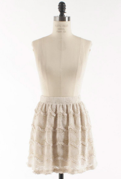 Skirt - Pure of Heart Wavy Floral Lace Skater Skirt in Ivory
