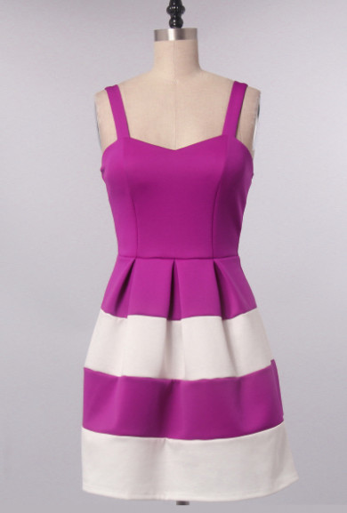 Dress - Raspberry Tart Sweetheart Color Block Dress in Berry