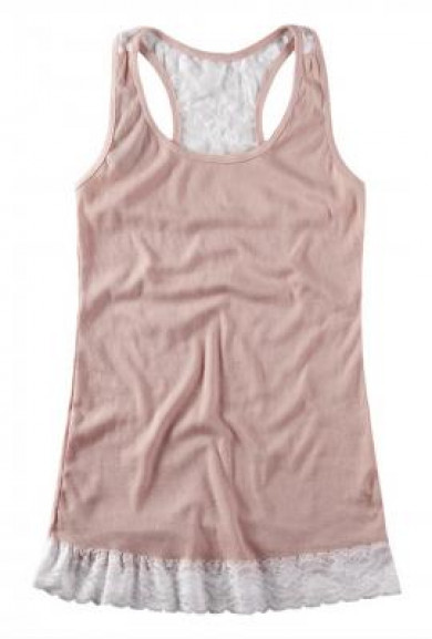 Top - Refined Simplicity Lace Embroidered Tank Top in Pink