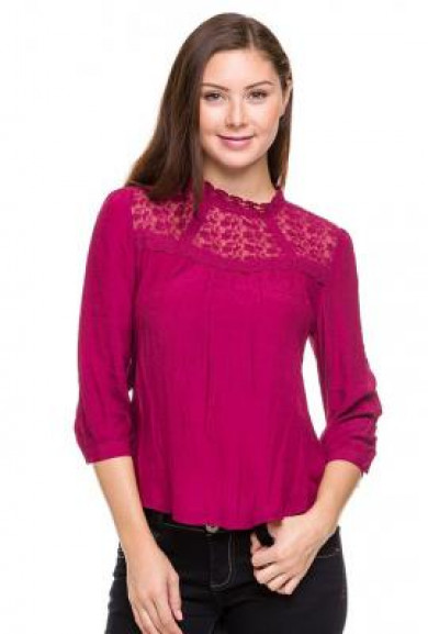 Top - Regal Resemblance Lace Mock Neck Top in Fuchsia