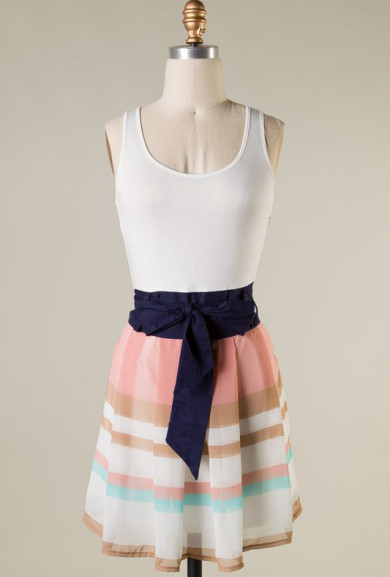 Dress - Resort Rendezvous Sleeveless Color Block Dress in Blush