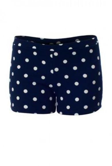 Shorts -Retro Chic Polka Dot Print Shorts in Navy Blue