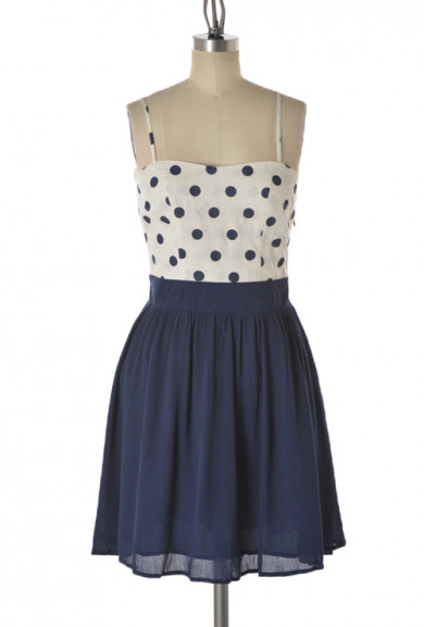 Dress - Retro Flair Polka Dot Sweetheart Dress in Navy