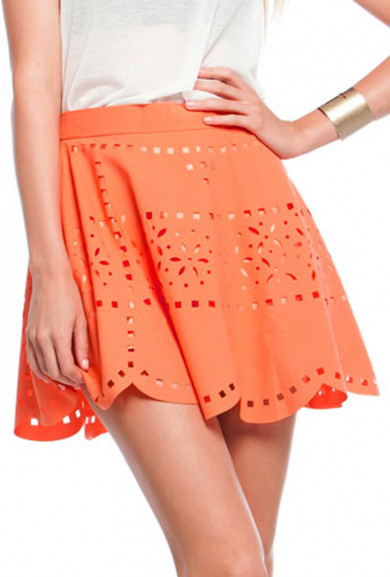 Skirt - Rocker Chic Laser Cut Skater Skirt in Salmon