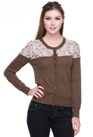 Cardigan - Romantic Day Lace Inset Long Sleeve Cardigan in Cocoa