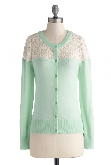 Cardigan - Romantic Day Lace Inset Long Sleeve Cardigan in Mint