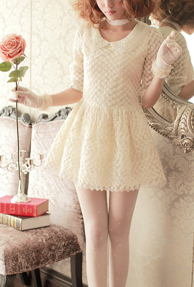 Dress - Royal Doll 3/4 Sleeve Floral Lace Mini Dress in Ivory