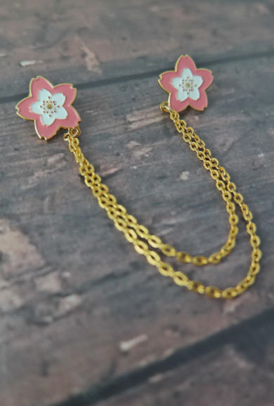 Collar Pins - Cherry Blossoms Chain Collar Pins