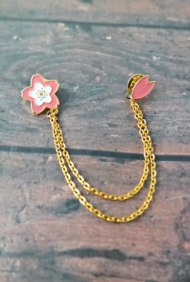 Collar Pins - Cherry Blossom and Petal Chain Collar Pins