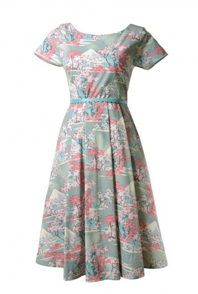 Dress - Hanami Cherry Blossom Print Short Sleeve Midi Dress