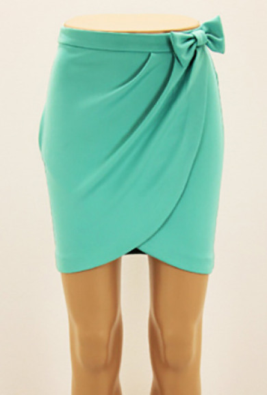 Skirt - Savvy Chic Bow Tulip Skirt in Mint