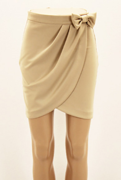 Skirt - Savvy Chic Bow Tulip Skirt in Taupe