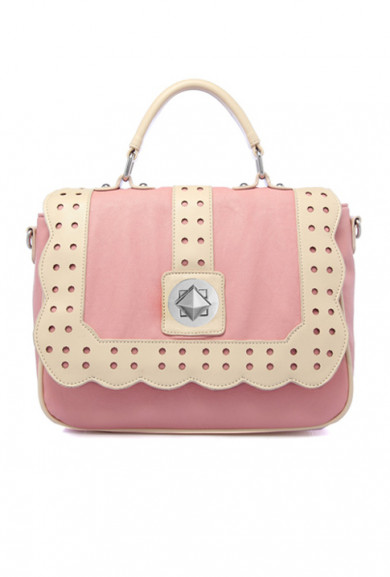 Handbag - Laws of Attraction Scallop Edge Pink Cream Handbag