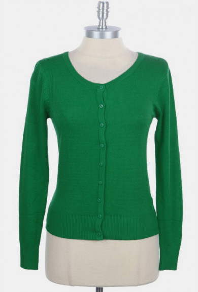 Cardigan - Scholarly Pursuits 3/4 Sleeve V-neck Cardigan in Emerald