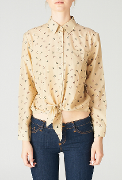 Blouse - The Seafarer Anchor Print Long Sleeve Blouse in Taupe