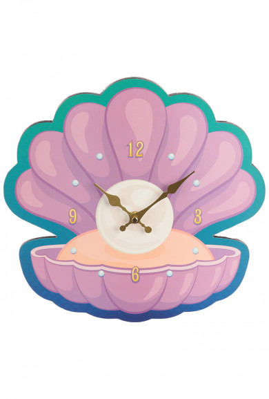 Mermaid Clam Shell and Pearl Shaped Picture Clock