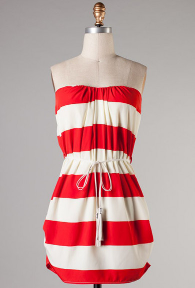 Dress - Semester at Sea Ruched Stripe Strapless Dress in Red