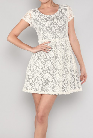 Dress - Simplicity is Key Short Sleeve Floral Lace Tea Dress in Cream/Grey