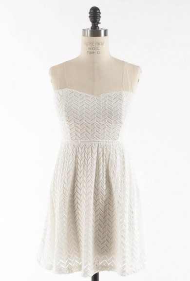 Dress - Simply Sweet Chevron Lace Sweetheart Skater Dress in Ivory
