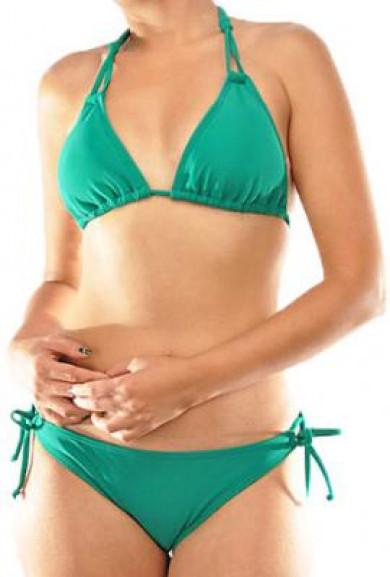 Bikini Set - Sirens Lagoon Double Halter Tie Emerald Bikini Set