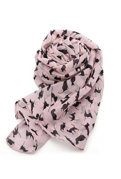 Scarf -Smitten Kitten Cat Print Pink Scarf