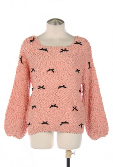 Sweater - Soft-Hearted Companion Peachy Pink Bow Trim Sweater