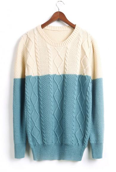 Sweater - Soft Spoken Blue & Cream Color Block Cable and Lattice Knit Sweater