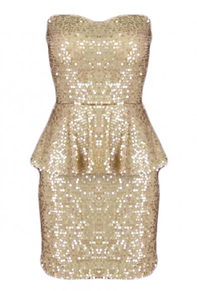 Dress - Sparkling Celebration Sequin Sweetheart Peplum Dress in Golden