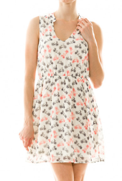 Dress - Spring Breeze Bicycle Print Sleeveless Dress in Ivory