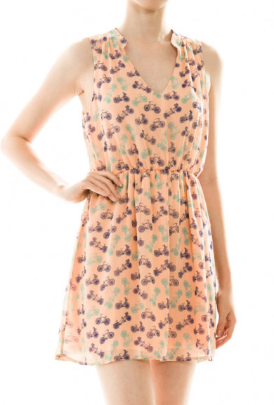 Dress - Spring Breeze Bicycle Print Sleeveless Dress in Peach