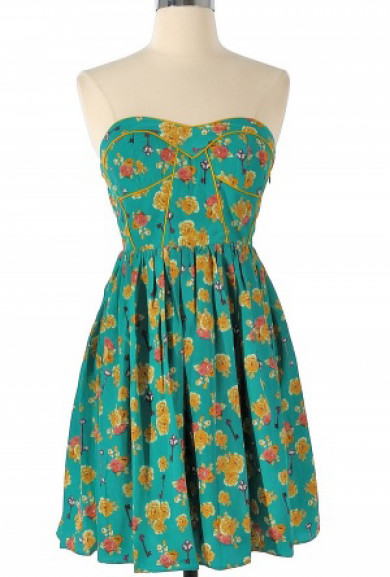 Dress - Spring Concert Strapless Floral Print Sweetheart Skater Dress in Teal